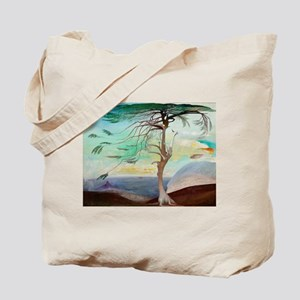 Lonely Cedar Tree Landscape Painting Tote Bag