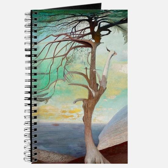 Lonely Cedar Tree Landscape Painting Journal