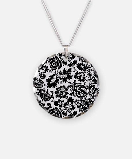 Damask Black and White Bold Floral Necklace