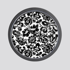 Damask Black and White Bold Floral Wall Clock