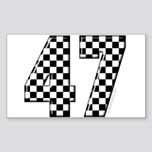 Checkered Number 47 Rectangle Sticker
