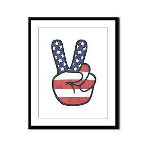Peace Hand Framed Panel Print