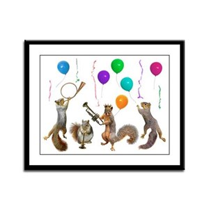 Squirrels Party Framed Panel Print