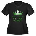 Forest Queen Women's Plus Size V-Neck Dark T-Shirt