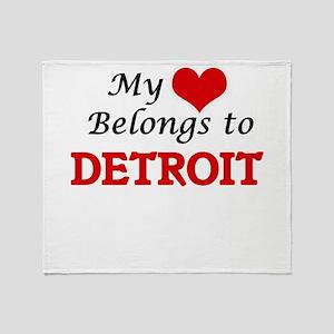My heart belongs to Detroit Michigan Throw Blanket