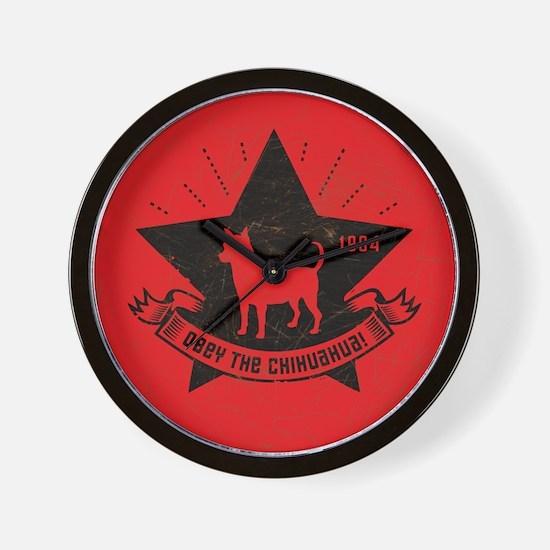 Obey the Chihuahua! Retro Icon Wall Clock