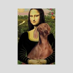 Mona Lisa / Weimaraner Rectangle Magnet