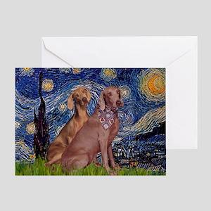 Starry / 2 Weimaraners Greeting Card