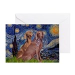 Starry / 2 Weimaraners Greeting Card