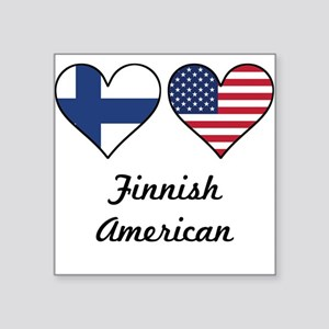Finnish American Flag Hearts Sticker