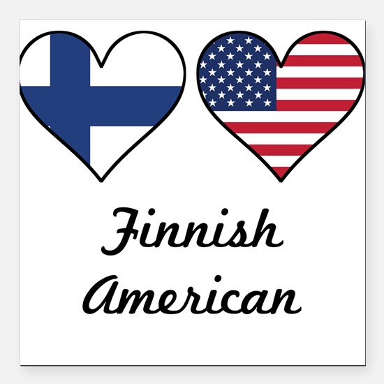 Finnish American Flag Hearts Square Car Magnet 3""