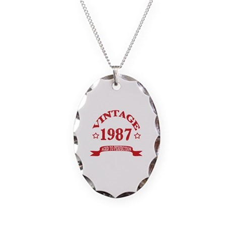 Vintage 1987 Aged To Perfectio Necklace Oval Charm