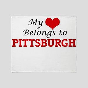 My heart belongs to Pittsburgh Penns Throw Blanket