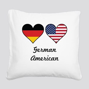 German American Flag Hearts Square Canvas Pillow