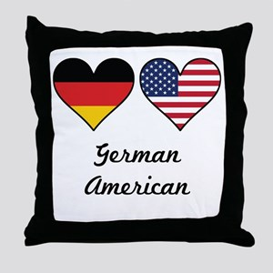 German American Flag Hearts Throw Pillow