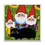 Black CAT and Garden Gnomes ART Tile