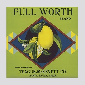 Full Worth Lemons Vintage Lab Tile Coaster
