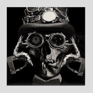 'Steampunk Deceased' Steampunk skelet Tile Coaster