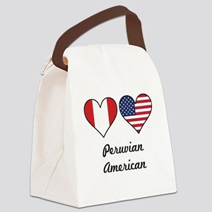 Peruvian American Flag Hearts Canvas Lunch Bag