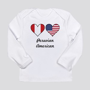 Peruvian American Flag Hearts Long Sleeve T-Shirt