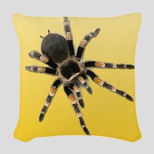 Tarantula Spider Yellow Woven Throw Pillow