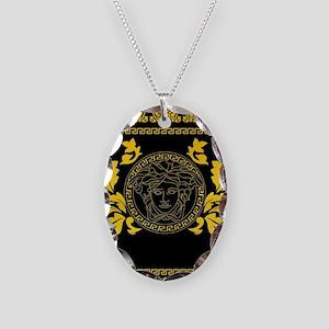 Gold Medusa Necklace Oval Charm