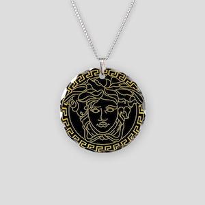 Gold Medusa Necklace Circle Charm