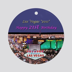 Las Vegas 21st Birthday Ornament (Rnd)