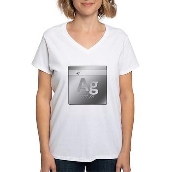 Silver (Ag) Women's V-Neck T-Shirt