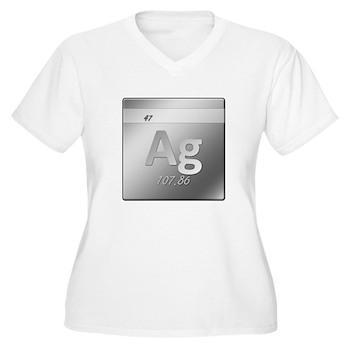 Silver (Ag) Women's Plus Size V-Neck T-Shirt