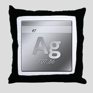 Silver (Ag) Throw Pillow