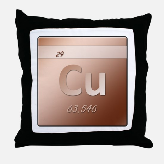 Copper (Cu) Throw Pillow