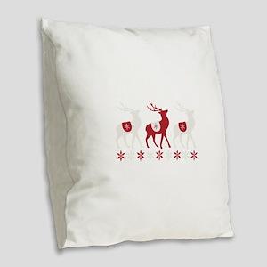 Winter Reindeer Burlap Throw Pillow