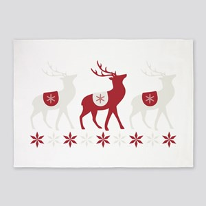 Winter Reindeer 5'x7'Area Rug