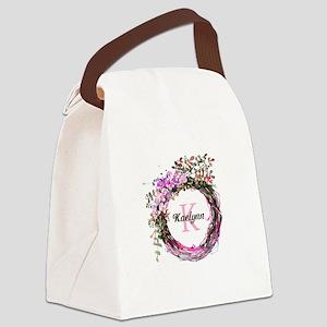 Pink Floral Wreath Monogram Canvas Lunch Bag