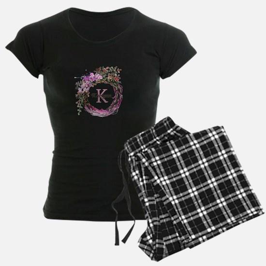 Pink Floral Wreath Monogram Pajamas