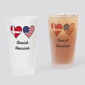 Danish American Flag Hearts Drinking Glass