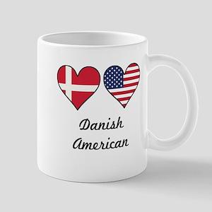 Danish American Flag Hearts Mugs