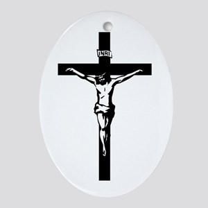 Crucifix Oval Ornament
