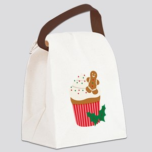 Christmas Cupcake Canvas Lunch Bag
