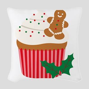 Christmas Cupcake Woven Throw Pillow