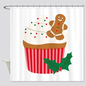 Christmas Cupcake Shower Curtain