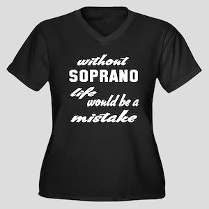 Without Sopr Women's Plus Size V-Neck Dark T-Shirt