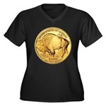 Gold Buffalo Women's Plus Size V-Neck Dark T-Shirt