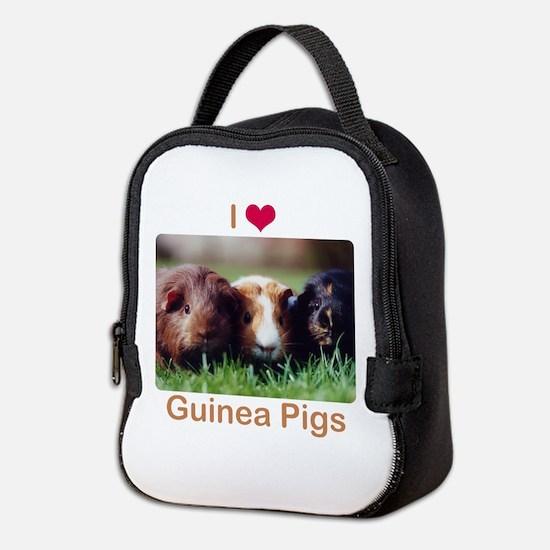 I Love Guinea Pigs Neoprene Lunch Bag