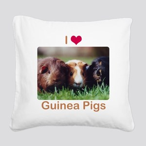 I Love Guinea Pigs Square Canvas Pillow