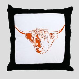Scottish Ginger Highland Cow Throw Pillow