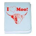 I Love Moo Highland Cow baby blanket