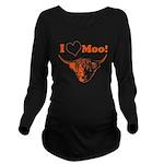 I Love Moo Highland Cow Long Sleeve Maternity T-Sh