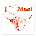 I Love Moo Highland Cow Square Car Magnet 3